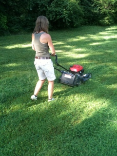 Lawn Mower Newbie at work